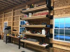 Stacked shelves utilizing the wall space