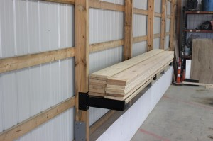 Lumber stored on Post Rack
